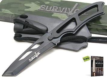Amazon.com: SURVIVOR - Cuchillo para hombre (recto, incluye ...
