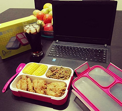 pluspoint leakproof bento lunch box set 2 in 1 food container 3 compartments spoon microwave. Black Bedroom Furniture Sets. Home Design Ideas
