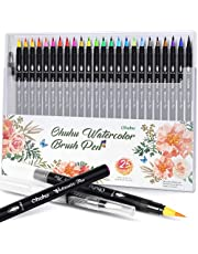 Ohuhu Watercolor Brush Markers Pen Set Of 20, Water Based Drawing Marker Brushes W/A Water Coloring Brush, Water Soluble For Adult Coloring Books Comic Calligraphy Back To School Valentine'S Day Gift