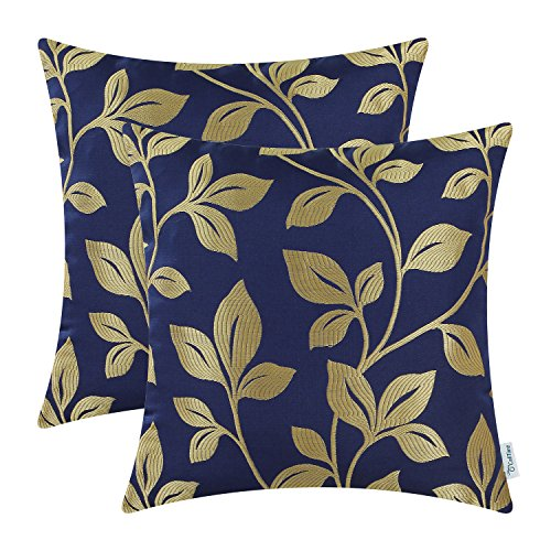 CaliTime Pack of 2 Soft Throw Pillow Covers Cases for Couch Sofa Home Decoration Cute Growing Leaves 18 X 18 inches Navy -