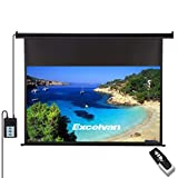 Excelvan 100 Inch 16:9 1.2 Gain Wall Ceiling Electric Motorized HD Projector Screen with Remote Control for Home and Office
