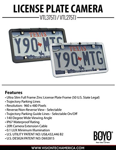 - Boyo VTL275TJ Ultra Slim Full Frame License Plate Camera with Trajectory Parking Lines, Chrome