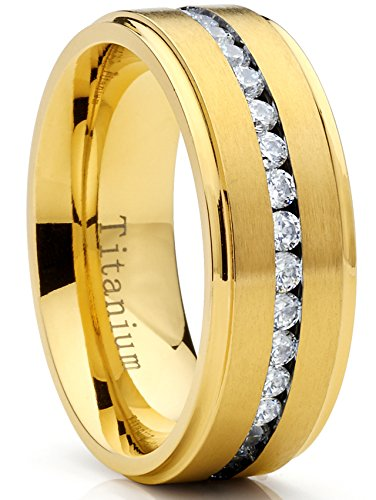Metal Masters Co. Goldtone Titanium Mens Eternity Wedding Band Ring Cubic Zirconia CZ, Comfort Fit 8mm