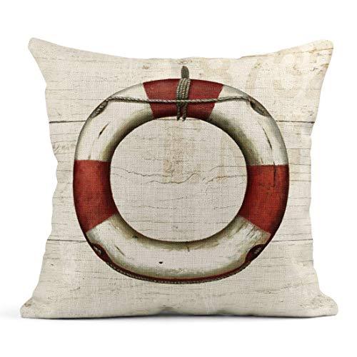 Tarolo Linen Throw Pillow Cover Case Nautique Patterns Decorative Pillow Cases Covers Home Decor Square 18 x 18 Inches Pillowcases