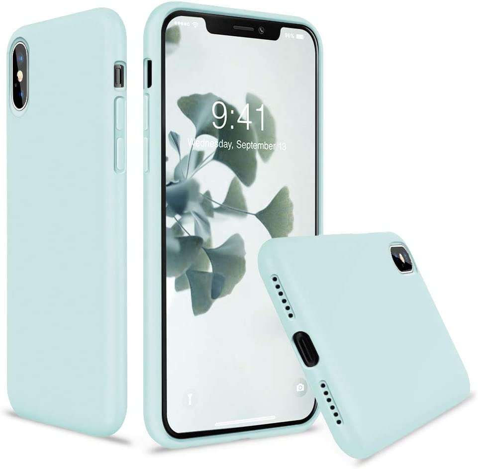 Vooii iPhone Xs Case, iPhone X Case, Soft Liquid Silicone Slim Rubber Full Body Protective iPhone Xs/X Case Cover (with Soft Microfiber Lining) Design for iPhone X iPhone Xs - Mint