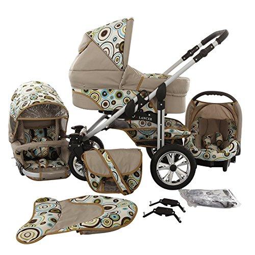 Chilly Kids Matrix Lancer Kinderwagen Komplettset (Autositz, Regenschutz, Moskitonetz, Schwenkräder) 12 Beige & Aqua Kreise