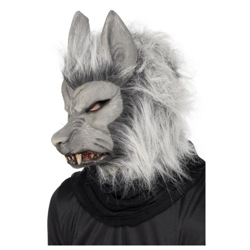 White and Grey Furry Werewolf Full Face Mask