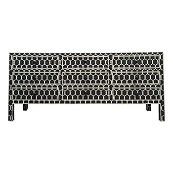 Modern Decor Ideas - Bone Inlay Furniture : Black Dresser Chest of Drawers Geometric Pattern