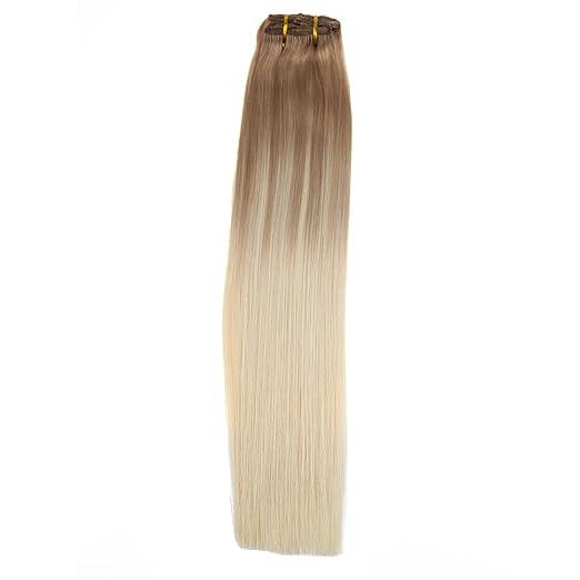LaaVoo 16 Pulgadas Rubio Ceniza Balayage Ombre Rubia Platino Extensiones de Pelo Humano Natural Easy Fit Clip on Hair Extensions Cabeza Completa 100 Gramos ...