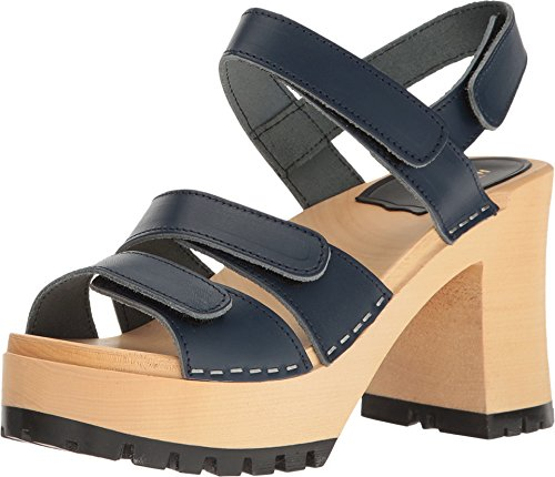 Women's Dark Sandal Velcra Heeled Blue swedish hasbeens xFCwqz07z