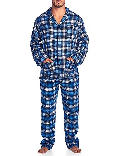 Plaid Flannel Pajama Top (Ashford & Brooks Mens Flannel Plaid Pajamas Long PJ Set - Ivory Navy Blue - Medium)