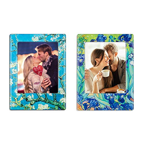 - Morcart Van Gogh Photo Frame Magnets(2pcs) Irises And Branches Of An Almond Tree In Blossom Magnets 3D Pattern Funny Office Baby Classroom Holiday Gifts Whiteboards Locker Supplies In School