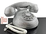 BlingUstyle 2nd-generation Silver crystal retro design Telephone for home&office