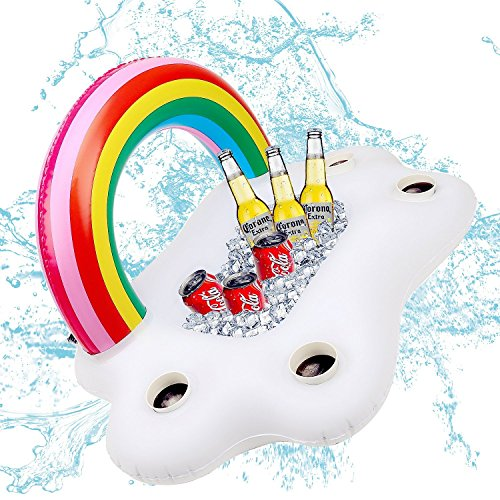 WISSBLUE Inflatable Rainbow Cloud Drink Holder Floating Beverage Salad Fruit Serving Bar Pool Float Party Accessories Summer Beach Leisure Cup Bottle Holder Water Fun Decorations Toys Kids Adults
