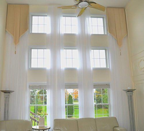 Ikiriska Long Sheer Voile Curtain Panel Custom Made Length for high Ceiling 17 ft 204 , White