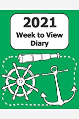 """2021 Weekly Diary: Large Print (Mariner - Green Cover) - 8"""" x 10"""" with Months, Important Dates & Week to View Planner - Simple layout. Large Print. Easy to use for visually impaired Paperback"""