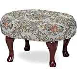 Coaster Queen Anne Style Footstool with Floral Damask Covered, Cherry Finish