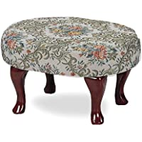 Upholstered Cherry Wood Foot Stool Wooden Footstool Part: 3422