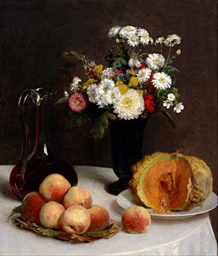 Hand Painted Carafe (Still Life with a Carafe, Flowers and Fruit By Henri Fantin-Latour. 100% Hand Painted. Oil On Canvas. Reproduction. (Unframed and Unstretched). Painting Size 24x28 In.)