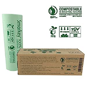 Smarkey Biodegradable Compostable Scraps Yard Food Waste Kitchen Trash Bags, 100-Count, 3 Gallon, 0.71 Mil Thickness, US BPI, Europ VINCETTE OK Compost Home and ASTM6400 Certificated