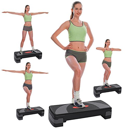 (Evokem PVC Aerobic Step Trainer, Adjustable Exercise Fitness Workout Stepper Home Office, Health Club Size)