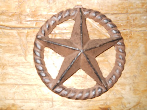 Home Decor 3 Cast Iron Stars Architectural Stress Washer Texas Lone Star Rustic Ranch 5'' Perfect for Your Farmhouse ()