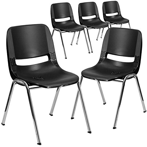 "Flash Furniture 5 Pk. HERCULES Series 440 lb. Capacity Black Ergonomic Shell Stack Chair with Chrome Frame and 12"" Seat Height"