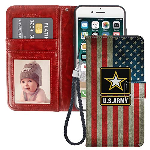 (iPhone 7 Plus iPhone 8 Plus Wallet Case US Flag Army Pattern Protective PU Leather Flip Cover with Credit Card Slots and Side Cash Pocket+Magnetic Clasp Closure)