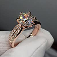 A.Minnymin Fashion Women Jewelry 3ct 9mm AAA Cz Rose Gold Filled Party Wedding Band Ring (7)