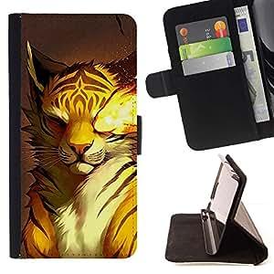 Momo Phone Case / Flip Funda de Cuero Case Cover - Fuego del gato de tigre - Samsung Galaxy S3 III I9300