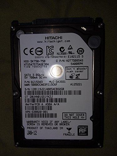 HTS547575A9E384, PN 0J15083, MLC DA3872, Hitachi 750GB SATA 2.5 Hard (Hitachi Sata Controller)