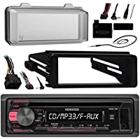 1998-2013 Harley Package: Kenwood CD AUX Car Receiver, Optional Kicker 6-1/2 Speakers (Pair), Metra Harley Dash Kit, Handle Bar Control, Enrock Antenna, Scosche Harley Weathershield, Mounting Ring