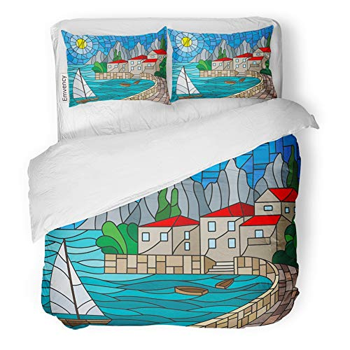 Emvency Decor Duvet Cover Set Full/Queen Size The in Stained Glass Painting with Sailboat on of Bay with City Sea and Sun Day 3 Piece Brushed Microfiber Fabric Print Bedding Set Cover]()