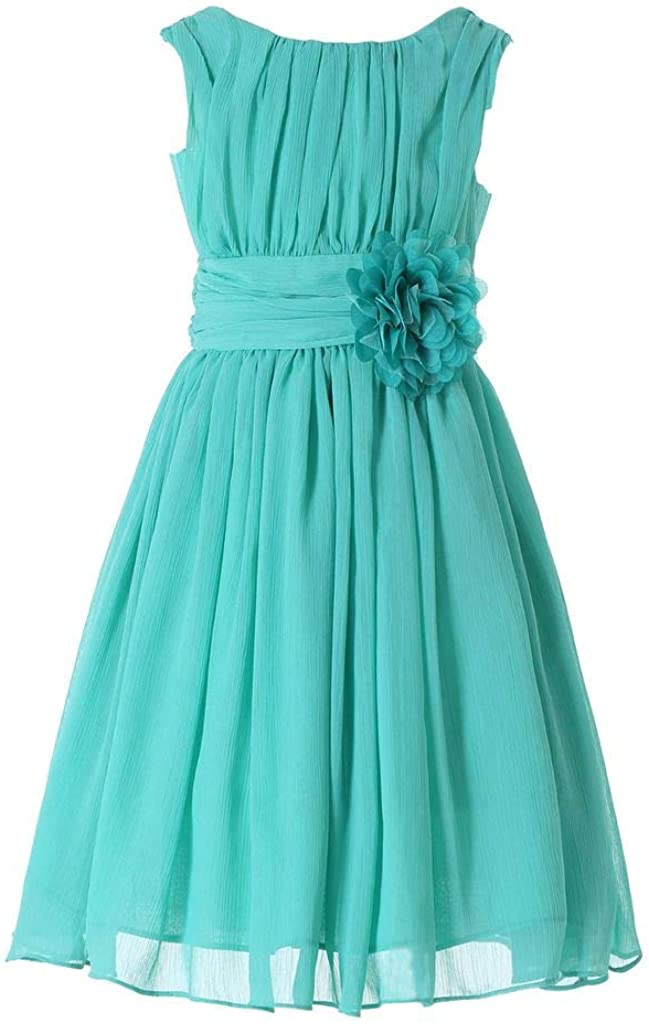 HAPPY ROSE Junior Bridesmaids Little Girls Elegant Ruffle Chiffon Summer Flowers Girls Dresses