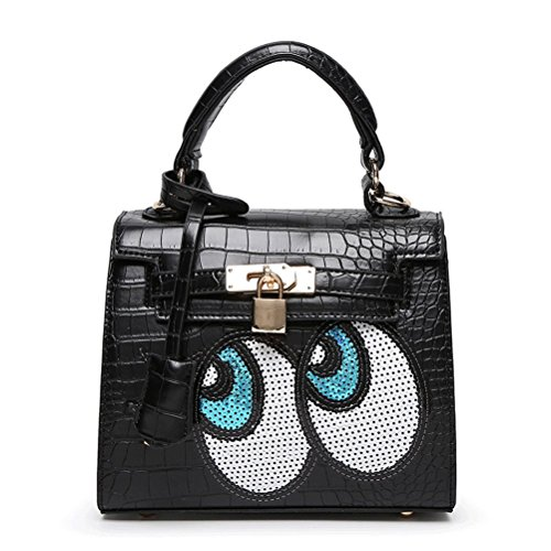 Women Korean Cute Design Crocodile Pattern Pu Leather Handbag Shoulder Bag Tote Bag Crossbody Bag Mothers' Day Gift (black)