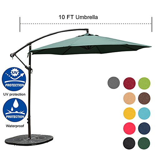 Sundale Outdoor 10FT Offset Umbrella Cantilever Umbrella Hanging Patio Umbrella with Crank and Cross Bar Set, Steel Ribs, Polyester Canopy Shade for Deck, Garden, Backyard, Dark Green
