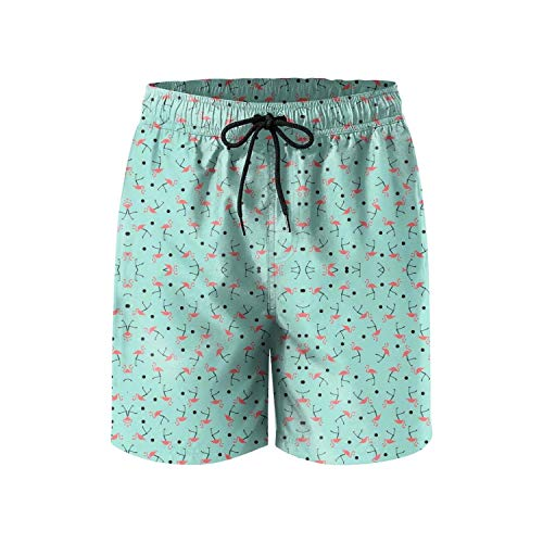 FullBo What is a Group of Pink Flamingos Called Men's Swim Trunks Quick Dry Beach Shorts (Best Beaches In Zihuatanejo)