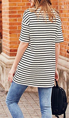 Magliette Tops maternità Black Manica Stampa Premaman IUGENQL Camicie Moda Popolare Gravidanza Casual Corta T Cotone Righe Donna Shirt A Comoda 5qwWcFgc1X