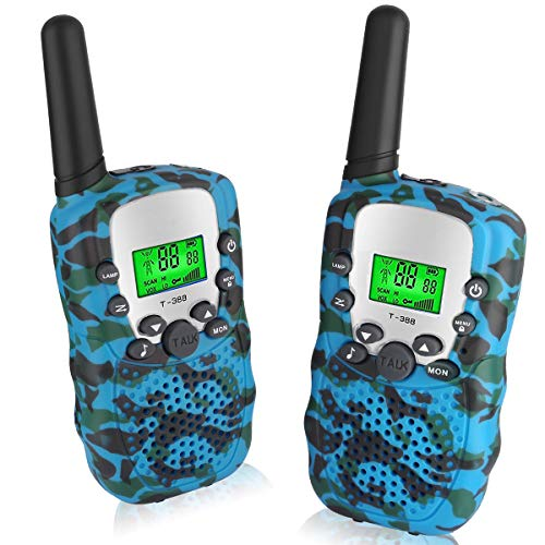 Toys for 4-8 Year Old Boys Pussan Kids Walkie Talkies 2 Miles Long Range T388 Walky Talky Kids Outdoor Toys Christmas Birthday Gifts Camo Blue