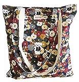 Women's Canvas Tote Shoulder Bag Stylish Shopping Casual Bag Foldaway Travel Bag (31-No closure-black floral+cat)