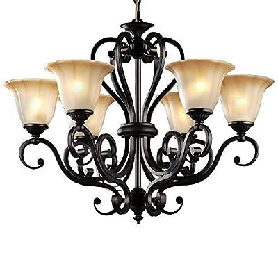 LNC Traditional Chandeliers, Black Finish Iron Art Pendant Lighting Amber Glass Shade Light Fixtures
