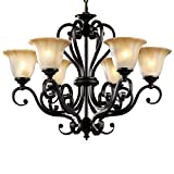 LNC A02335 6 Traditional Antique Black Iron Pendant Lighting Chandeliers For Sale