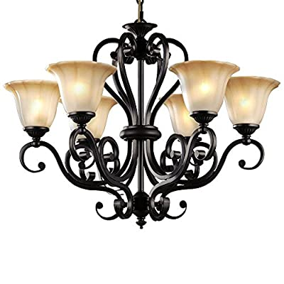 LNC A02335 6 Traditional Antique Black Iron Pendant Lighting Chandeliers - DURABILITY: steel construction chandelier CLASSIC DESIGN: Amber glass shades soften the glow of light and creates a relaxing effect. EASY INSTALL: ceiling light has all mounting hardware for quick and easy installation - kitchen-dining-room-decor, kitchen-dining-room, chandeliers-lighting - 517FgIot42L. SS400  -