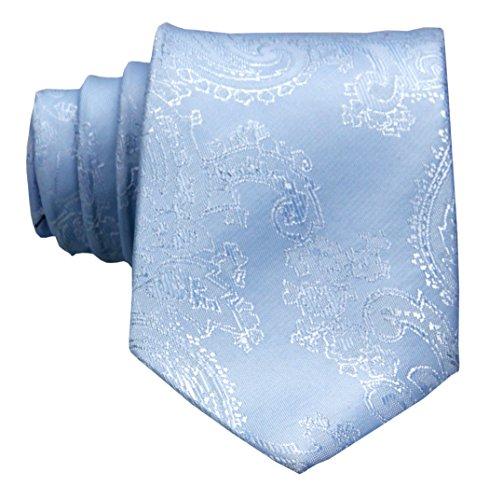 Mens Charm Silk Skinny Paisley Jacquard Tie - Various Color (Blue)