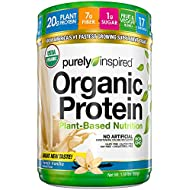 Purely Inspired Organic Protein Shake Powder, 100% Plant Based with Pea & Brown Rice Protein (Non-GMO, Gluten Free, Vegan Friendly), French Vanilla, 1.5 Pound