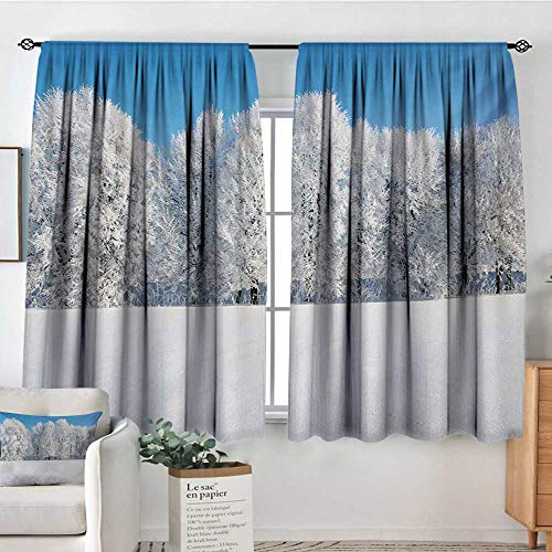 "Mozenou Winter Custom Curtains Frosted Trees in The Forest with Snowy Fields Cool Looking Seasonal Photography Patterned Drape for Glass Door 72"" W x 45"" L Blue White"