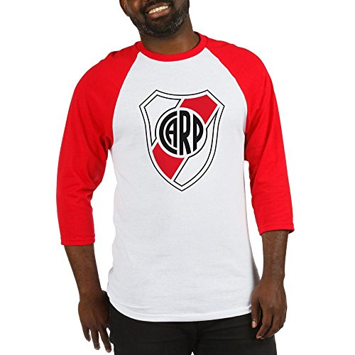 (CafePress Escudo River Plate Baseball Jersey Cotton Baseball Jersey, 3/4 Raglan Sleeve Shirt Red/White)