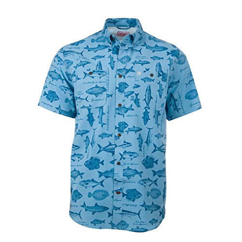 Coleman Short Sleeve Blue BBQ Mens Button Down Shirt (XX Large, Blue)