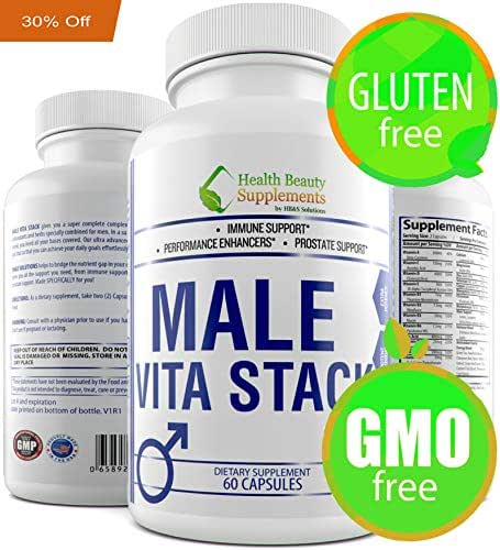 Male Vita Stack.Iron Free Multi Vitamin for Men.Daily Complex for All Ages.Energy,Strength Immune Booster.Vitamins A, C, E, B1, B2, B6, B12, Calcium,Vitamin D,Zinc & More