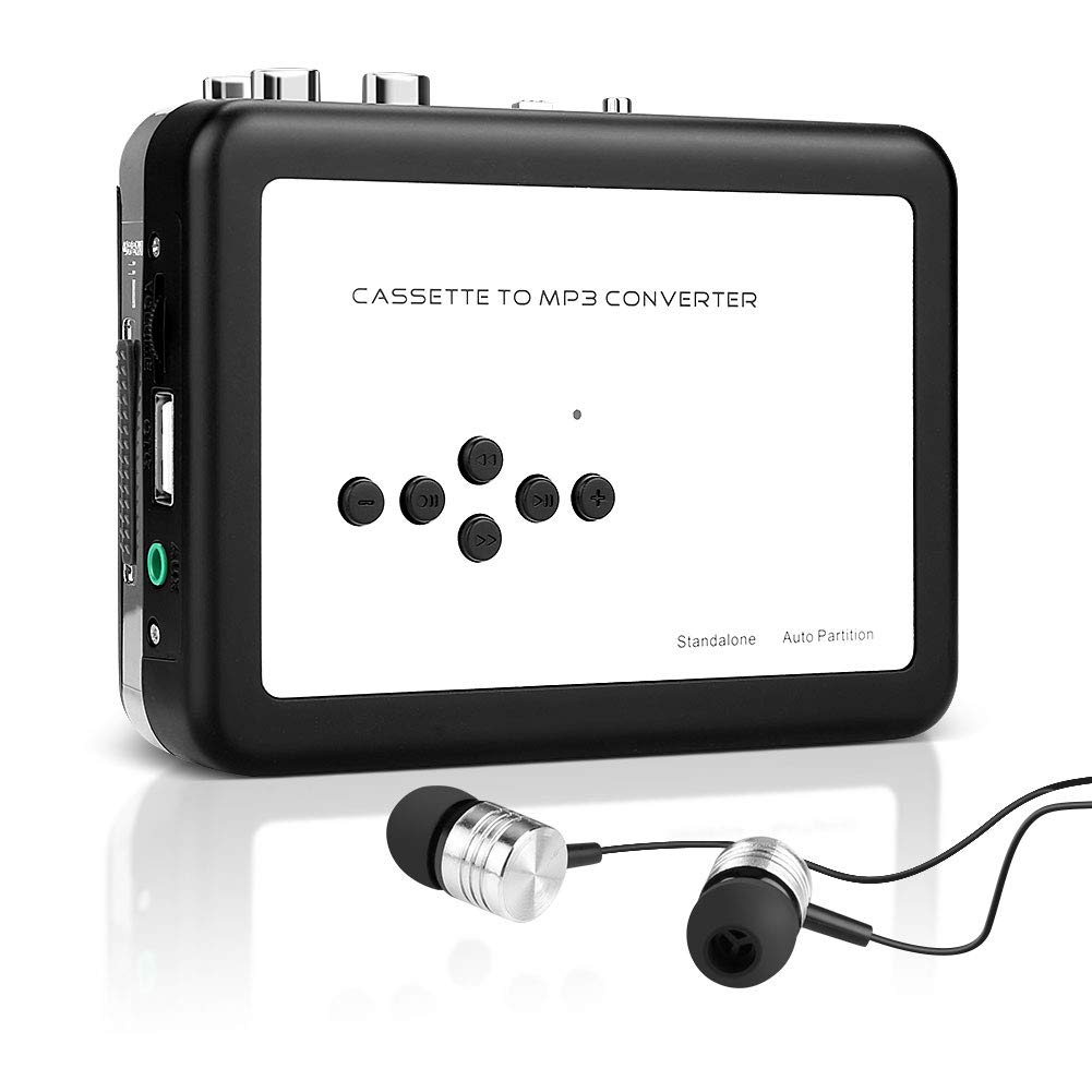 SubClap Cassette Player, Portable Cassette Tape to MP3 Converter Retro Walkman Music Recorder with Earphones, Convert Cassette to MP3 via USB Disk, No PC Required (Black & Silver)